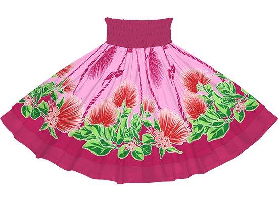 【ダブルパウスカート】ピンクのレフア・ティリーフレイ柄とフューシャの無地 dpau-2780Pi