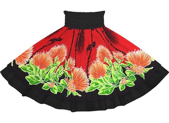 【ダブルパウスカート】 赤のレフア・ティリーフレイ柄とブラックの無地 dpau-2780RD