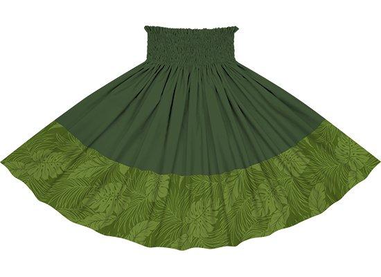 【ポエポエパウスカート】 緑のモンステラ総柄とモスグリーンの無地 pppaul-2022GN