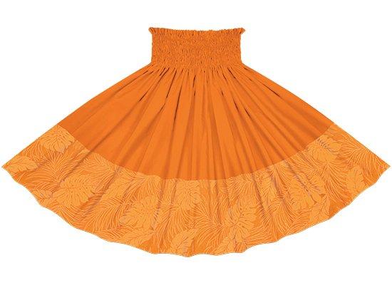 【ポエポエパウスカート】オレンジのモンステラ総柄とビビッドオレンジの無地 pppau-l-2022OR