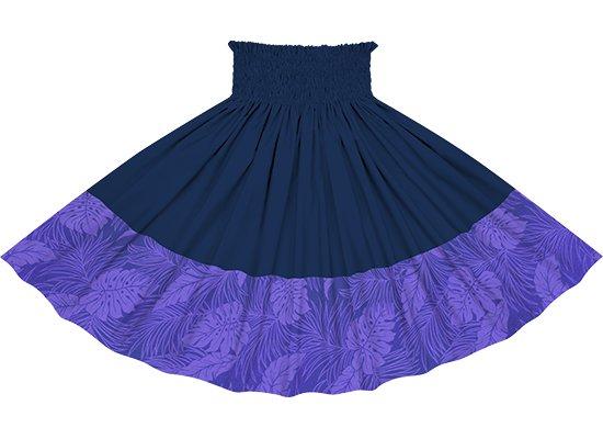 【ポエポエパウスカート】青紫のモンステラ総柄とネイビーの無地 pppau-l-2022PPBL