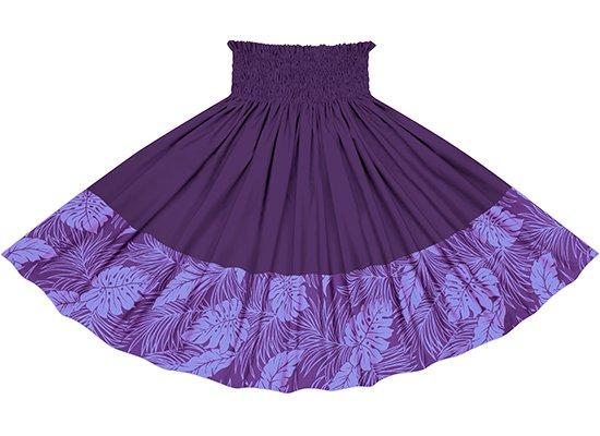 【ポエポエパウスカート】 紫のモンステラ総柄とディープバイオレットの無地 pppau-l-2022PPPP