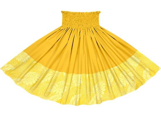 【ポエポエパウスカート】黄色のモンステラ総柄とゴールドの無地 pppau-l-2022YW