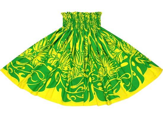 【蔵出し】黄色のパウスカート 緑のレフア・モンステラ柄 spau-re-2562YWGN【NPS】