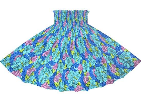 青のパウスカート ハイビスカス・クラウンフラワー柄 sprm-2719BL 65cm 3本ゴム【既製品】