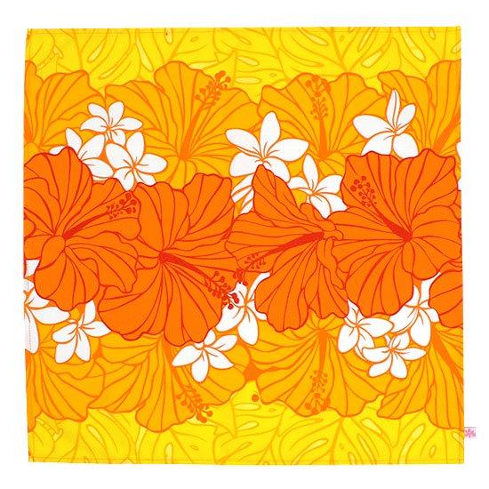 オレンジのランチクロス お弁当つつみ プルメリア・ハイビスカス・モンステラ柄 LC2676OR 【メール便可】
