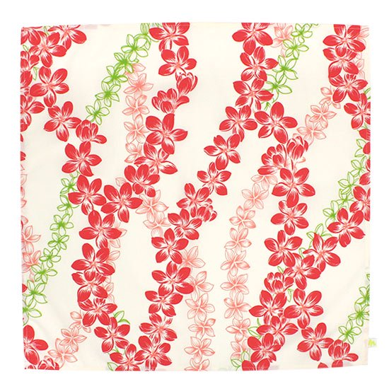 クリーム色と赤のランチクロス お弁当つつみ プルメリア・レイ柄 LC2586CRRD 【メール便可】
