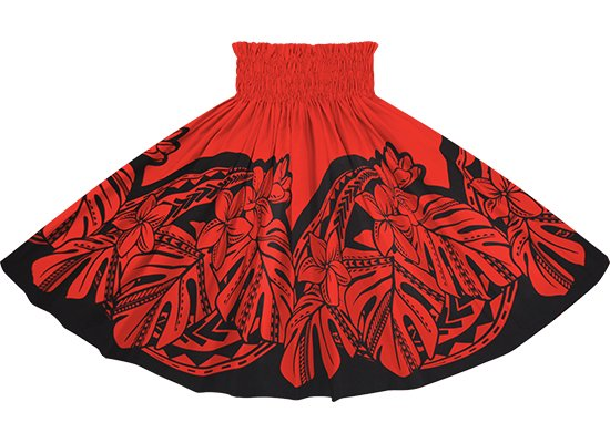 赤のパウスカート プルメリア・モンステラ柄 sprm-2765RD 75cm 4本ゴム【既製品】