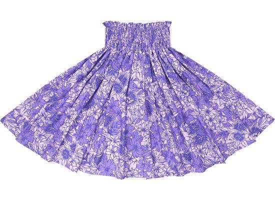 紫のパウスカート ハイビスカス・レフア総柄 sprm-2560PPPP 78cm 3本ゴム 【既製品】