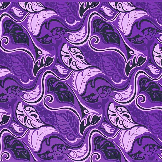 【カット生地】(1.5ヤード) 紫のハワイアンファブリック プルメリア柄 fab1.5y-2008PP 【4yまでメール便可】