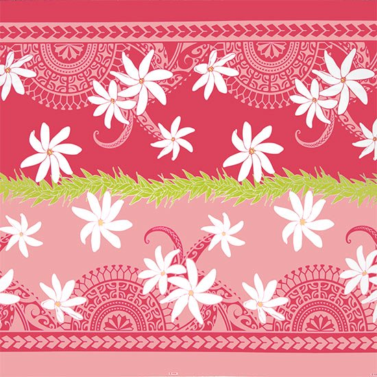 【カット生地】(2ヤード) ピンクのハワイアンファブリック ティアレ・カヒコ柄 fab2y-2675Pi 【4yまでメール便可】