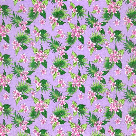 【カット生地】(2.5ヤード) 紫のハワイアンファブリック プルメリア柄 fab2.5y-2583PP 【4yまでメール便可】