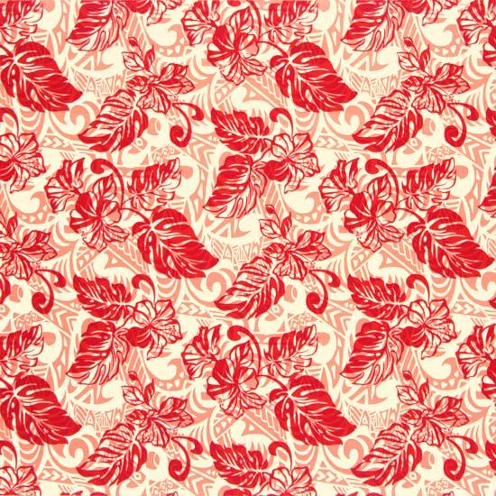 【カット生地】(2.5ヤード) クリーム色と赤のハワイアンファブリック ハイビスカス・モンステラ柄 fab2.5y-2573CRRD 【4yまでメール便可】