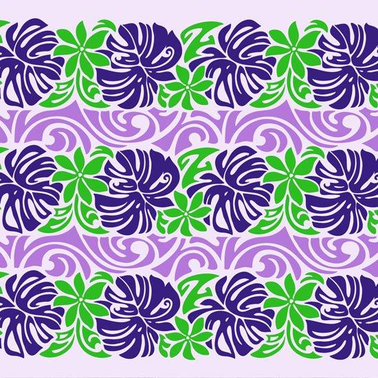 【カット生地】(2.5ヤード) 紫のハワイアンファブリック モンステラ・ティアレ・ボーダー柄 fab2.5y-2502PPPP 【4yまでメール便可】