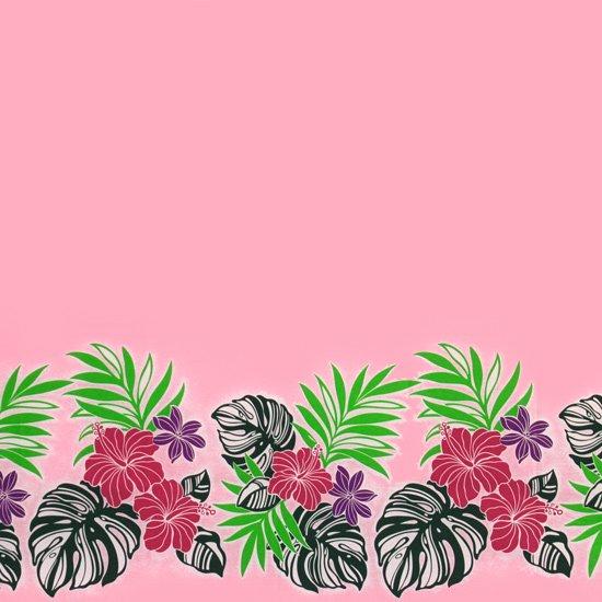 【カット生地】(2.5ヤード) ピンクのハワイアンファブリック ハイビスカス・モンステラ・ヤシ・ボーダー柄 fab2.5y-2496Pi 【4yまでメール便可】