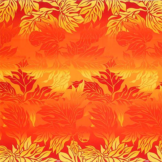 【カット生地】(2.5ヤード) 赤のハワイアンファブリック ウル・グラデーション柄 fab2.5y-2464RDOR 【4yまでメール便可】