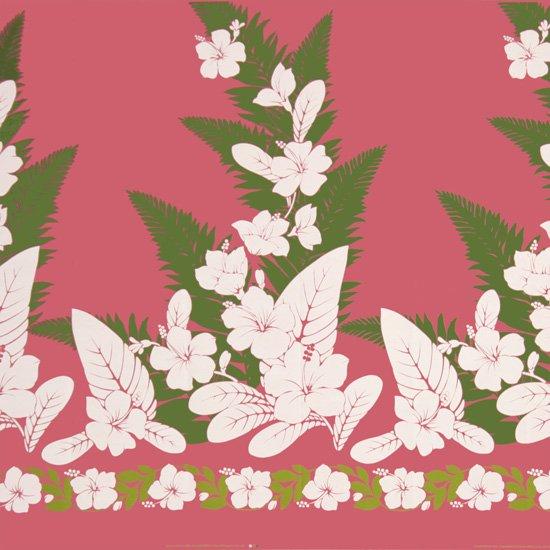 【カット生地】(2.5ヤード) ピンクのハワイアンファブリック ハイビスカス・シダ柄 fab2.5y-2570Pi 【4yまでメール便可】