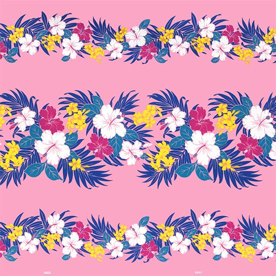 【カット生地】(2.5ヤード) ピンクのハワイアンファブリック ハイビスカス・プルメリア・ヤシ柄 fab2.5y-2459Pi 【4yまでメール便可】