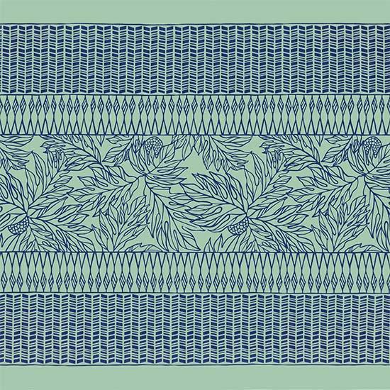 【カット生地】(2.5ヤード) 水色と青のハワイアンファブリック タパ・ウル柄 fab2.5y-2682AQBL 【4yまでメール便可】