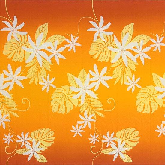 【カット生地】(2.5ヤード) オレンジのハワイアンファブリック ティアレ・モンステラ・グラデーション柄 fab2.5y-2638OR 【4yまでメール便可】
