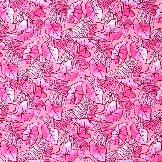 【カット生地】(2.5ヤード) ピンクと紫のハワイアンファブリック タロ・ラウアエ柄 fab2.5y-2655PiPP 【4yまでメール便可】