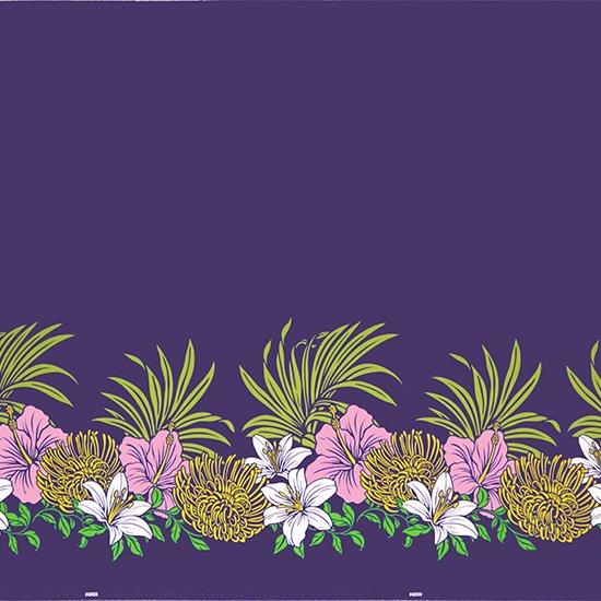 【カット生地】(3ヤード) 紫のハワイアンファブリック ハイビスカス・リリー・ピンクッション柄 fab3y-2487PP 【4yまでメール便可】