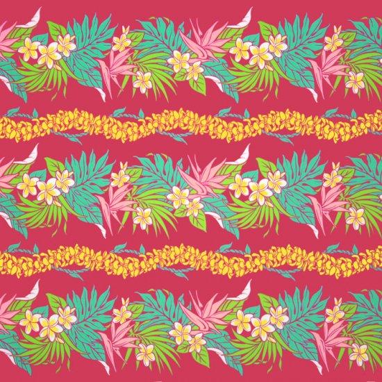 【カット生地】(3ヤード) ピンクのハワイアンファブリック プルメリア・バードオブパラダイス柄 fab3y-2677Pi 【4yまでメール便可】