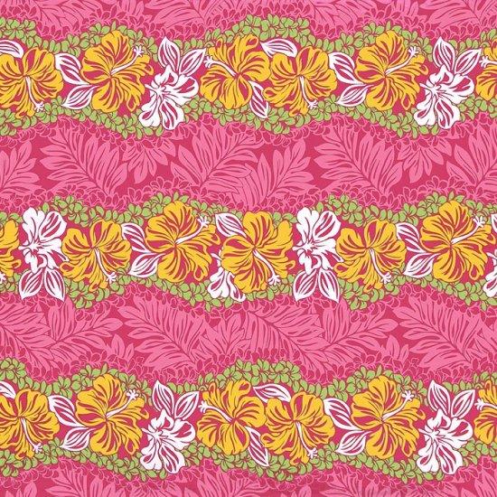 【カット生地】(3.5ヤード) ピンクのハワイアンファブリック ハイビスカス・プルメリア・モンステラ柄 fab3.5y-2453Pi 【4yまでメール便可】