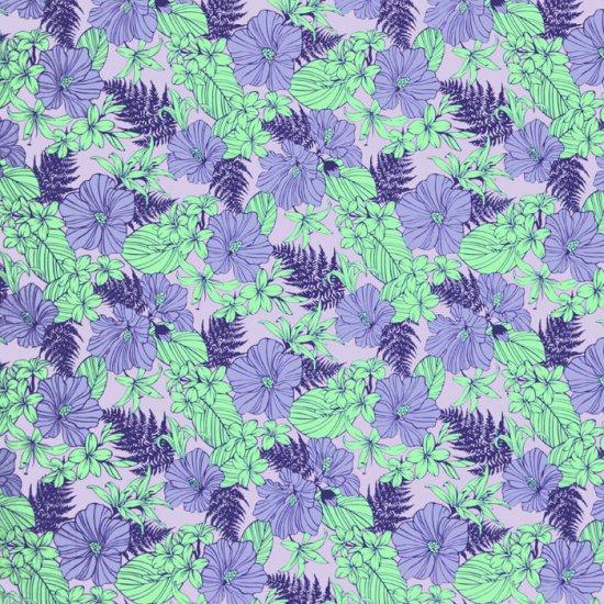 【カット生地】(3.5ヤード) 紫のハワイアンファブリック ハイビスカス・リリー・パラパライ柄 fab3.5y-2554PP 【4yまでメール便可】
