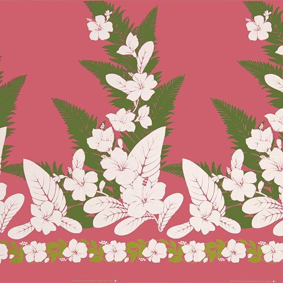 【カット生地】(3.5ヤード) ピンクのハワイアンファブリック ハイビスカス・シダ柄 fab3.5y-2570Pi 【4yまでメール便可】
