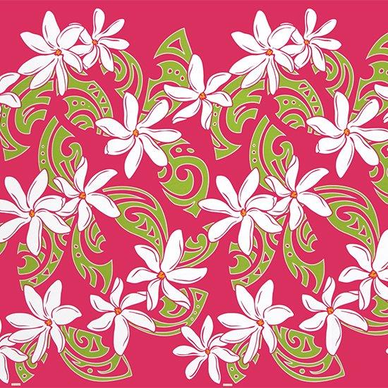 【カット生地】(3.5ヤード) ピンクのハワイアンファブリック ティアレ・タヒチ柄 fab3.5y-2451Pi 【4yまでメール便可】
