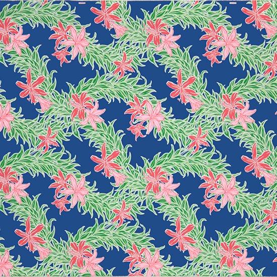 【カット生地】(3.5ヤード) 青のハワイアンファブリック スパイダーリリー・リーフレイ柄 fab3.5y-2587BL 【4yまでメール便可】