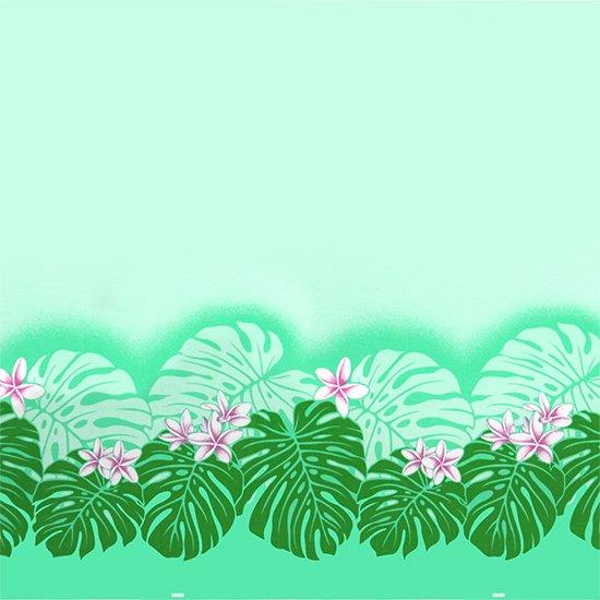 【カット生地】(3.5ヤード) ヒスイ色のハワイアンファブリック プルメリア・モンステラ柄 fab3.5y-2494JD 【4yまでメール便可】