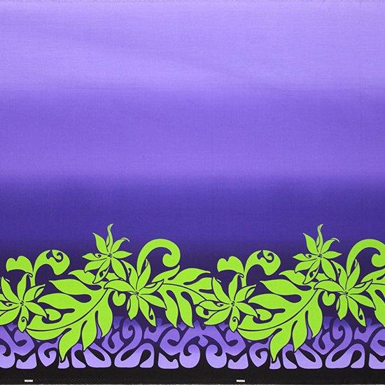 【カット生地】(3.5ヤード) 紫〜黒のハワイアンファブリック きみどりのティアレ・タヒチ・ボーダー・グラデーション柄 fab3.5y-2465BKPP 【4yまでメール便可】