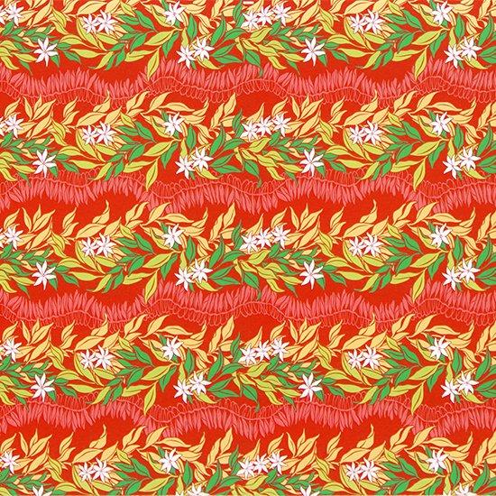 【カット生地】(3.5ヤード) 赤のハワイアンファブリック ティアレ・ジンジャーレイ柄 fab3.5y-2492RD 【4yまでメール便可】