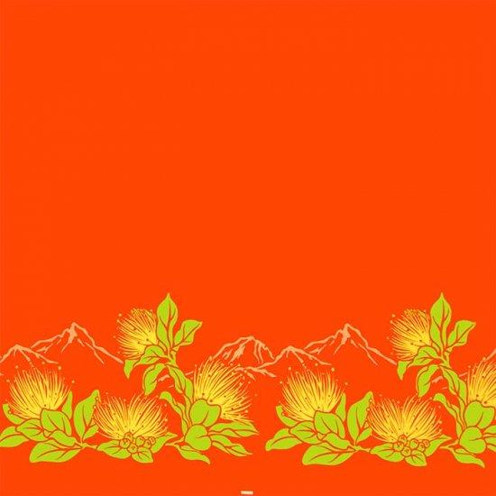 【カット生地】(3.5ヤード) オレンジのハワイアンファブリック レフア・ボルケーノ柄 fab3.5y-2664OR 【4yまでメール便可】