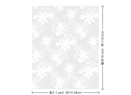 【カット生地】(1ヤード)白のハワイアンファブリック ティアレ・プルメリア柄 fab1y-2599WH 【4yまでメール便可】