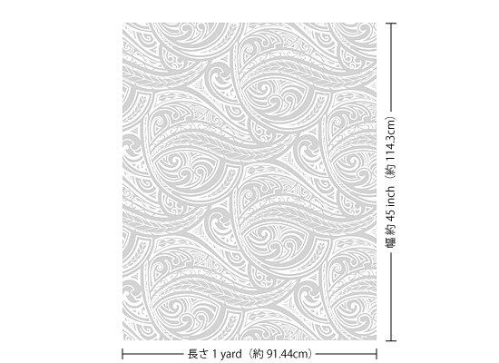 【カット生地】(1ヤード)白のハワイアンファブリック トライバル・カヒコ柄 fab1y-2684WH 【4yまでメール便可】