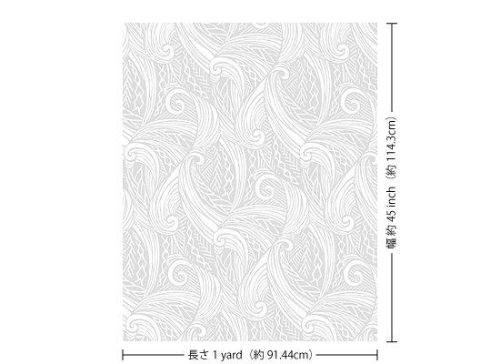 【カット生地】(1ヤード)白のハワイアンファブリック ウエーブ・カヒコ柄 fab1y-2747WH 【4yまでメール便可】
