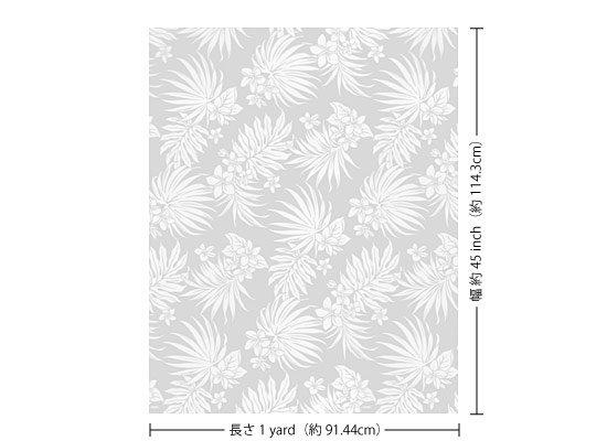 【カット生地】(1ヤード)白のハワイアンファブリック プルメリア・ヤシ柄 fab1y-2770WH 【4yまでメール便可】