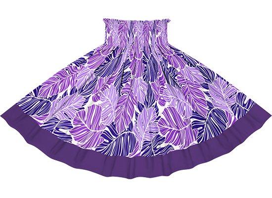 【ポエポエパウスカート】 紫のパウスカート モンステラ柄とディープバイオレットの無地 pppaur-2779PP