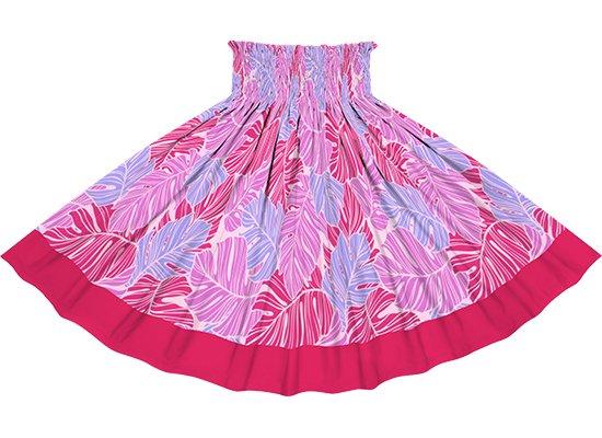【ポエポエパウスカート】 ピンクのパウスカート モンステラ柄とラズベリーの無地 pppaur-2779Pi