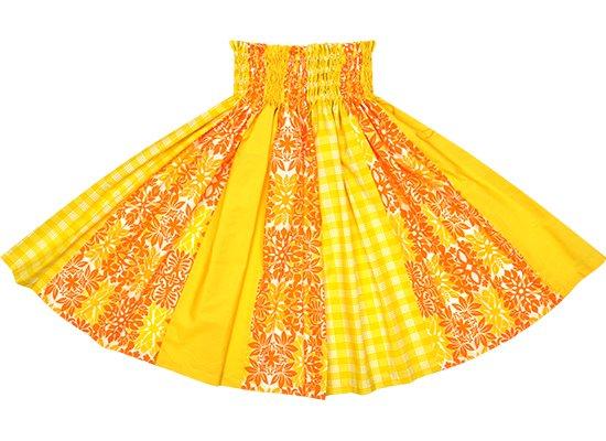 【パネル切り替えパウスカート】オレンジのキルト総柄と黄色のパラカ柄とゴールドの無地 pnpau-2616OR【TS】