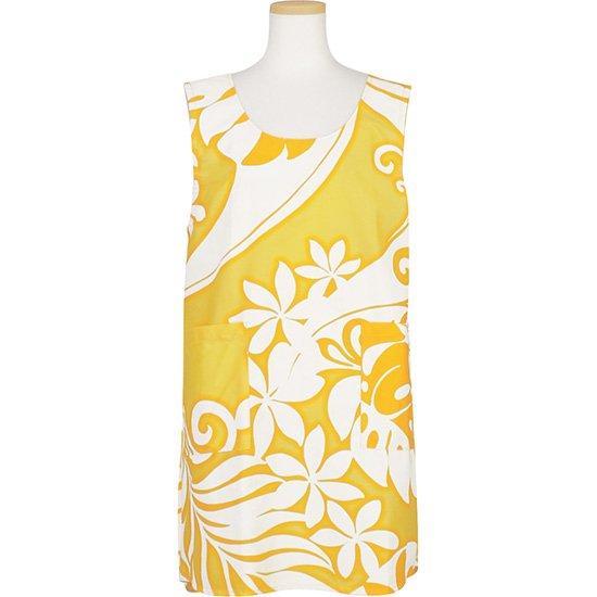 オーバーオールエプロン ノースリーブ かっぽうぎ 黄色 ティアレ・モンステラ柄 aprn-NSOAP2532YW 既製品 【メール便可】