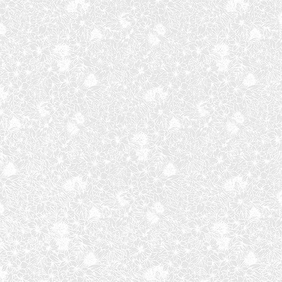 【蔵出し】白のハワイアンファブリック ハイビスカス・レフア総柄 fab-2560WHWH 【4yまでメール便可】