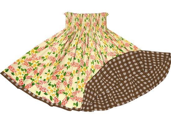 【リバーシブルパウスカート】ベージュのプルメリア柄 茶色のパラカ柄 rvpau-2723BG