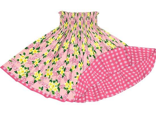 【リバーシブルパウスカート】 ピンクのプルメリア柄 ピンクのパラカ柄 rvpau-2723Pi
