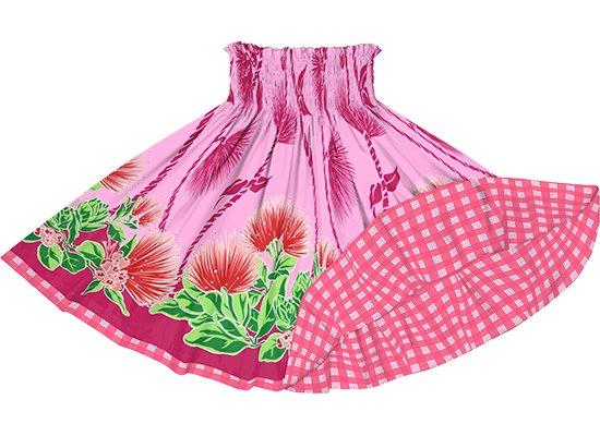 【リバーシブルパウスカート】ピンクのレフア・ティリーフレイ柄 ピンクのパラカ柄 rvpau-2780Pi