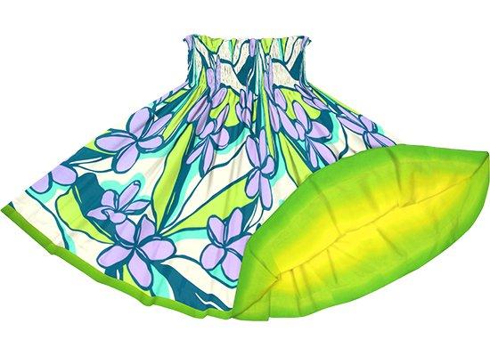 【リバーシブルパウスカート】緑と紫のプルメリア柄 黄色と緑のグラデーション柄 rvpau-2783GNPP 75cm 4本ゴム【既製品】