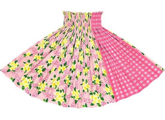 【たて切り替えパウスカート】 ピンクのプルメリア柄とピンク色のパラカ柄 vypau-2723Pi